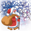 Santa Claus with gifts in snow forest — Stock Vector