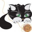 Little black kitten playing with a ball of yarn — Stock Vector
