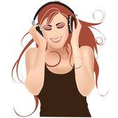 Girl in headphones listening music with headphones — Stock Vector