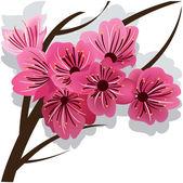 Branch of blooming cherry tree Sakura — Stock Vector