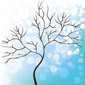 Fondo de invierno nieve, árbol sin hojas, navidad — Vector de stock