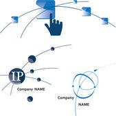 Global communication logo. Icon. Internet. Wireless. Vector Illu — Stock Vector
