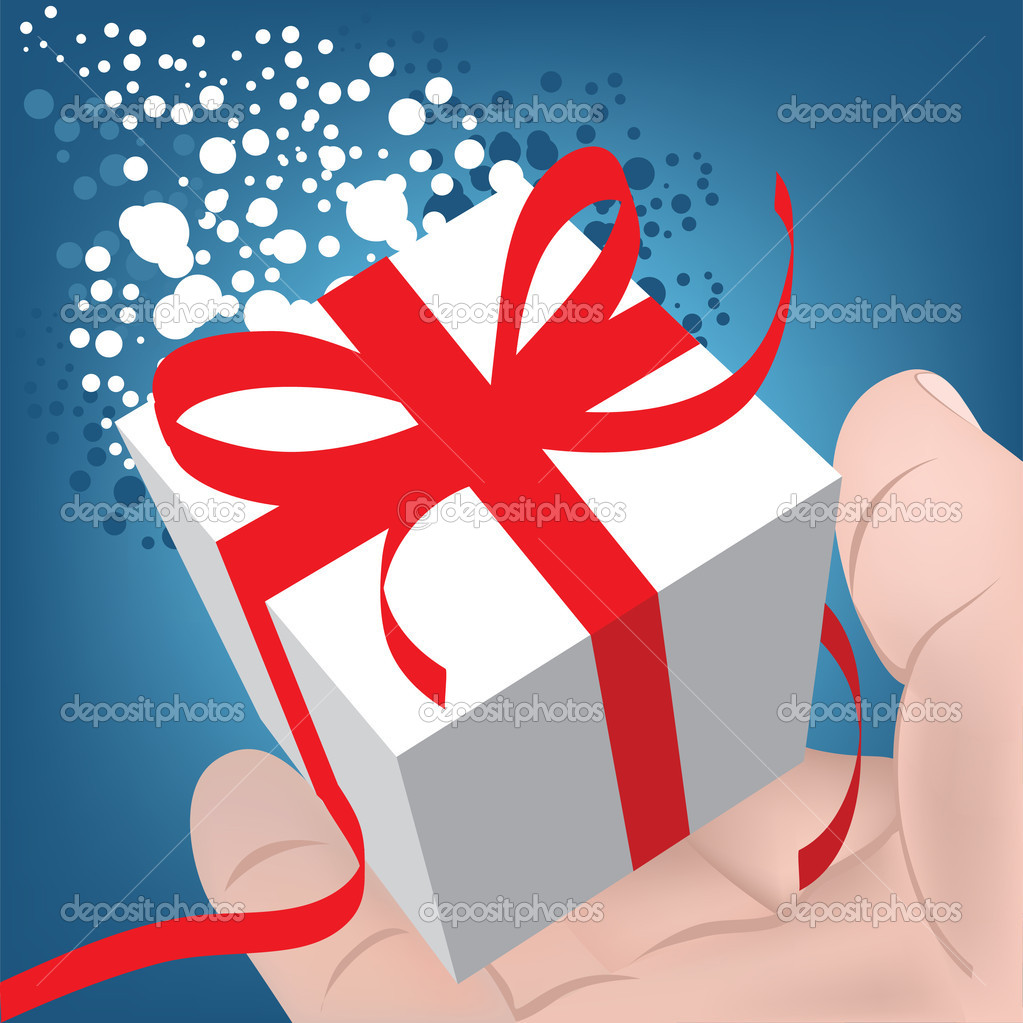 For you! Gift Box in a man&#039;s hand. Christmas gift  Stock Vector #11653072