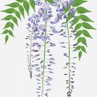 Royalty-Free Stock Vector Image: Blooming wisteria branch with leaves, vector illustration