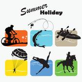 Establece de descanso activo, vacaciones de verano, icono, ilustración vectorial — Vector de stock