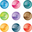 Numbered colored buttons. Vector set icons. — Stock Vector