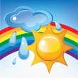 Sun, cloud, rain and rainbow — Stock Vector