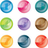 Numbered colored buttons. Vector set icons. — Stockvector