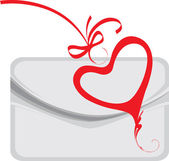 Envelope and decorative heart — Vector de stock