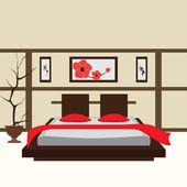 Interior bedroom, vector illustration — Stock Vector