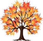 Art autumn tree. Maple — Stock Vector