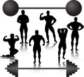 Weightlifting silhouette — Stock Vector