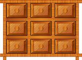 小さい項目のための木製のキャビネット — ストックベクタ