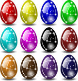 Glass Easter eggs — Stock Vector