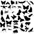 Flying insects silhouettes — Stock Vector
