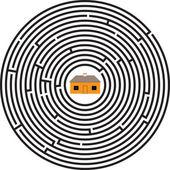 Maze ellipse house — Wektor stockowy