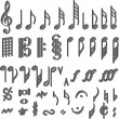 Stock Vector: Music symbols 3D