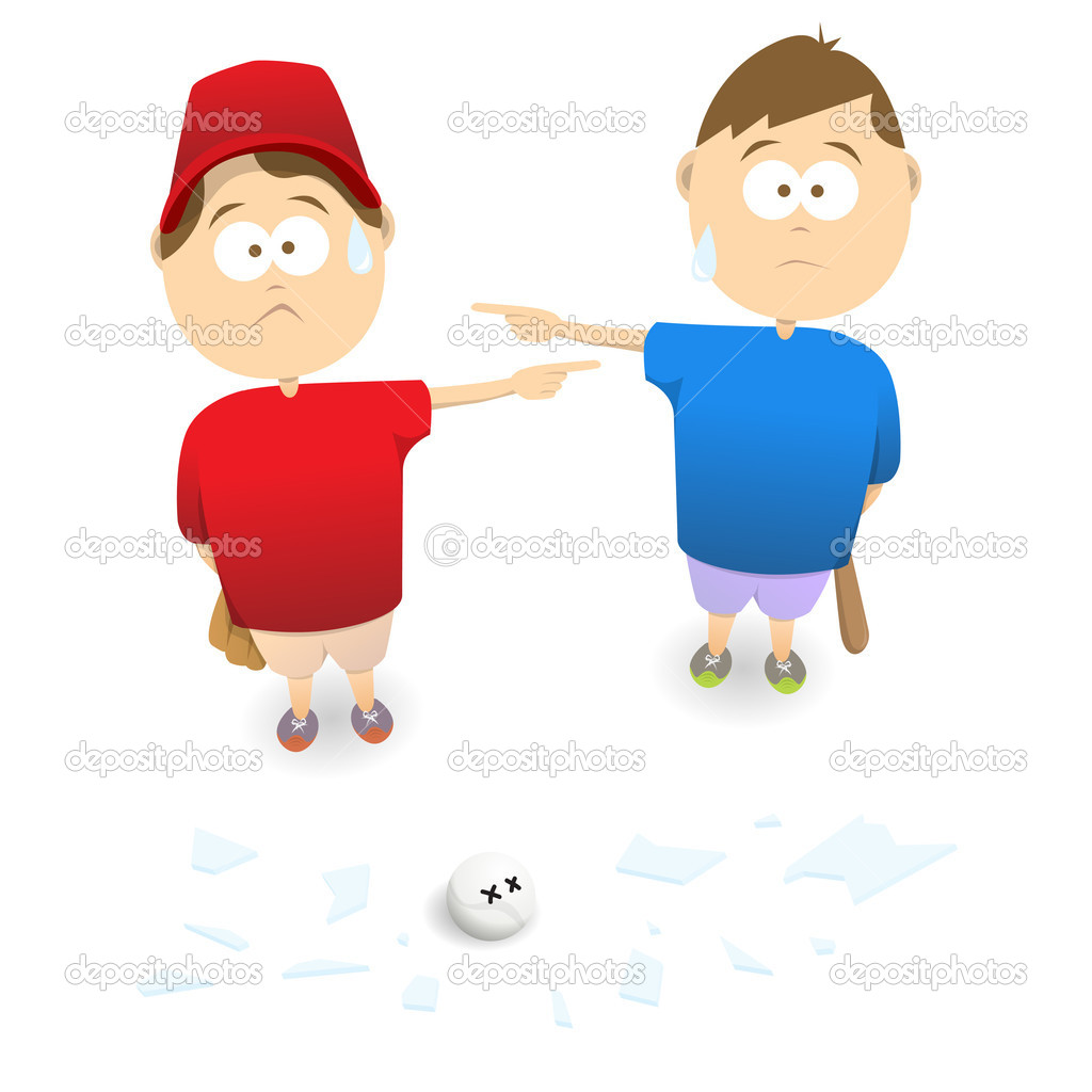 Two boys blaming each other of smashing a window. — Stock Vector #11949060