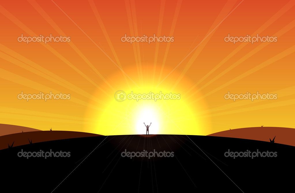 Man standing in front of the rising sun, appear liberated or sort. — Stock Vector #11949113