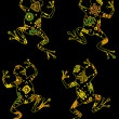 Frogs on the black background — Imagen vectorial