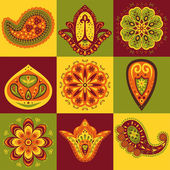 Set of indian pattern — Stock Vector