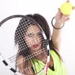 Stock Photo: Young attractive woman tennis player