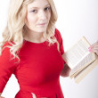 Young attractive woman reading a book — Stock Photo