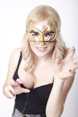 Young attractive woman masked like cat woman — Stock Photo