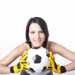 Girl holding football. — Stock Photo #11851723