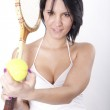 Young attractive woman holding racket — Stock Photo #11851821