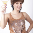 Young attractive woman drinking cocktail — Stock Photo #11851907