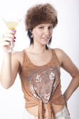 Young attractive woman drinking cocktail — Stock Photo