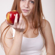 Young beautiful girl eating apple — Stock Photo #12091156