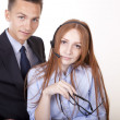 Young attractive business couple — Stock Photo