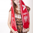 Young beautiful female poland fan — Stock Photo #12091388
