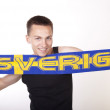 Young beautiful male sweden fan — Stock Photo