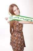 Young beautiful female ireland fan — Stockfoto