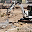 Excavator with hammer — Stock Photo