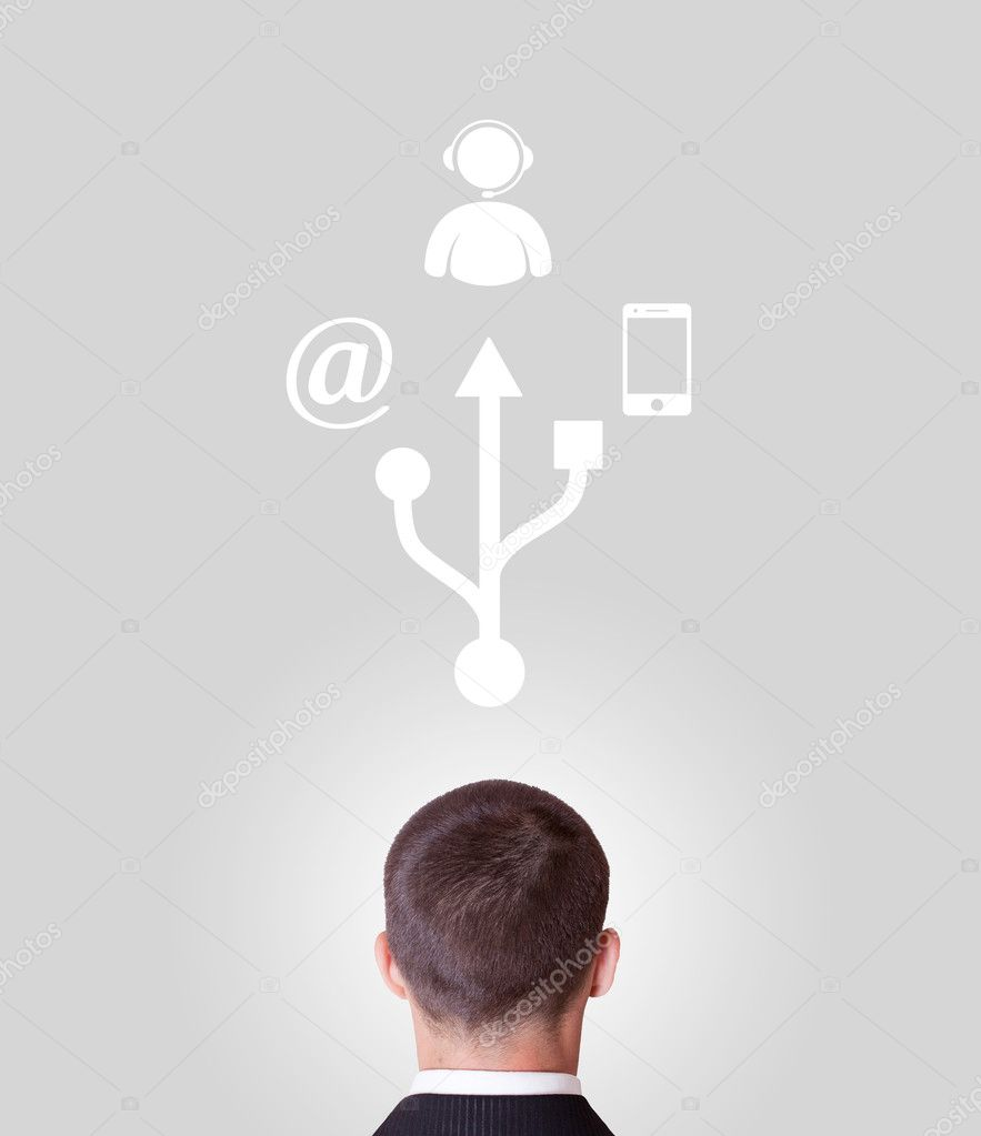 Man and the various ways of modern communication — Stock Photo #11349203