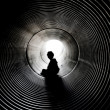 The silhouette in the tunnel — Stock Photo