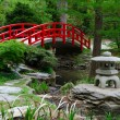 Stock Photo: Red bridge in Japanese garden
