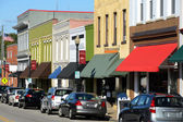 Main street in american town — Stock Photo