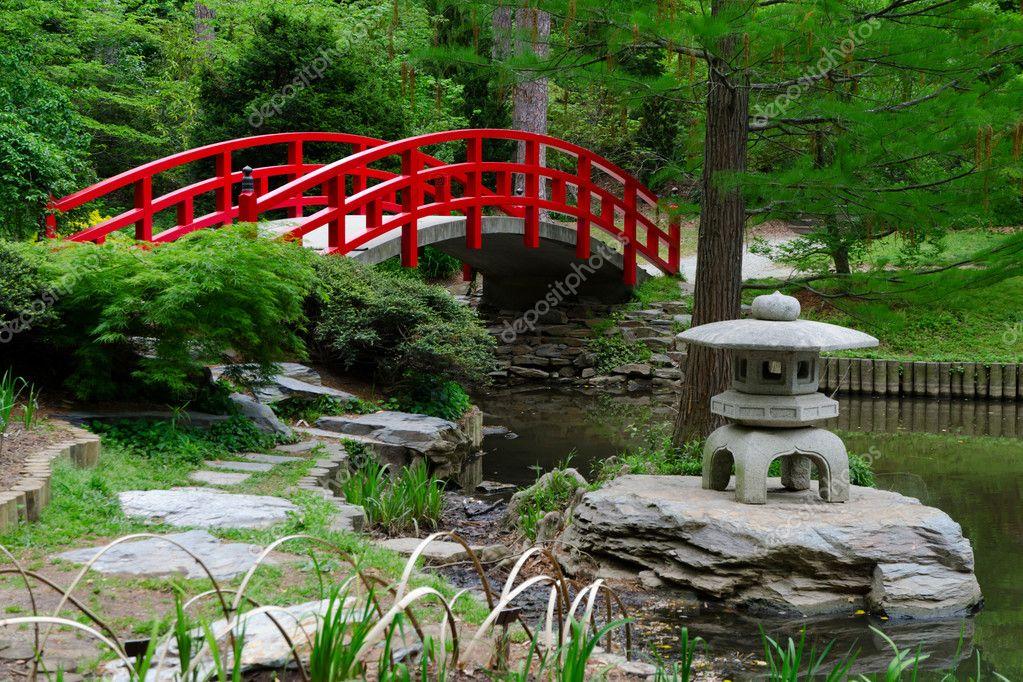 Red Bridge In Japanese Garden Stock Photo 169 Kzlobastov