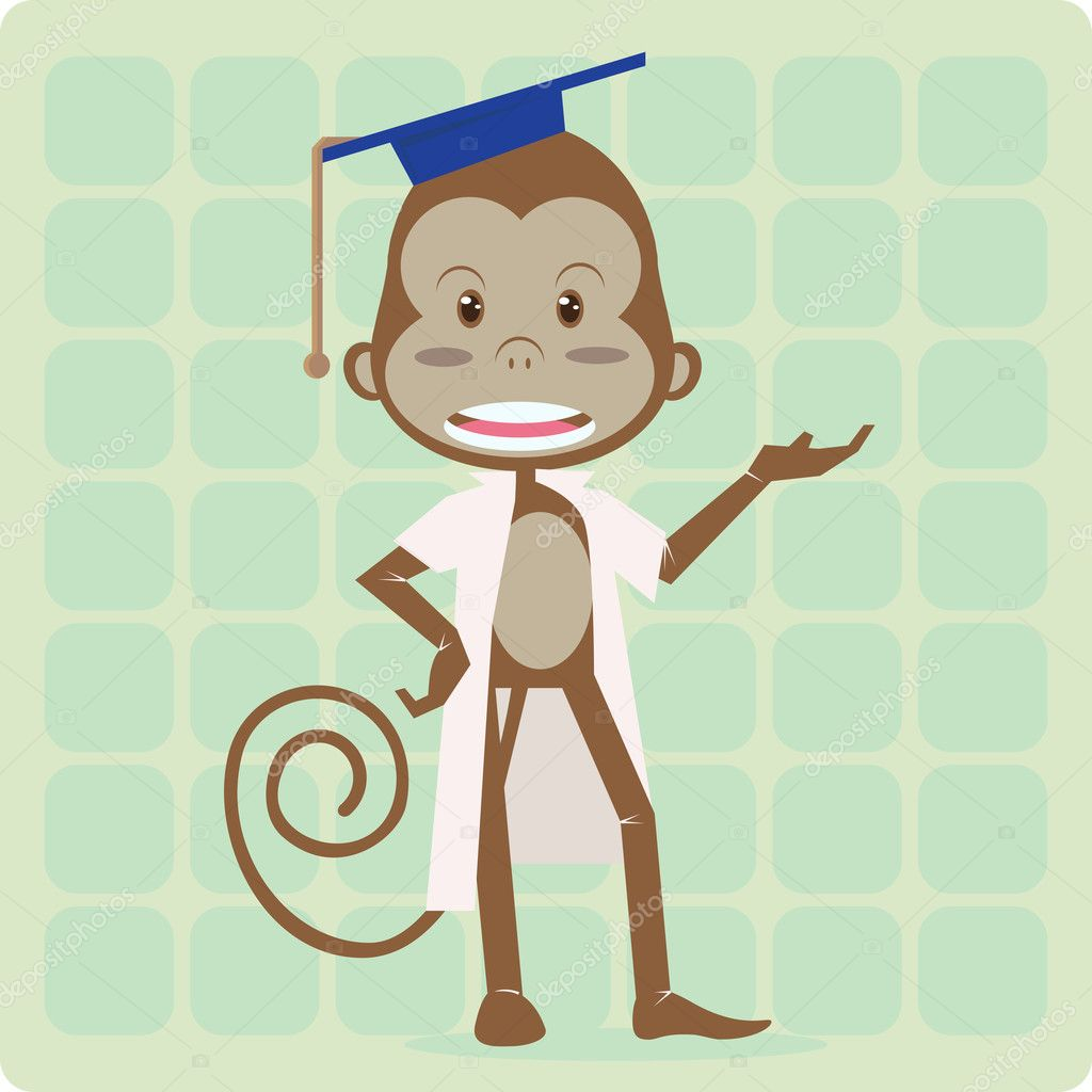 Monkey with laboratorium suit and phd hat — Stock Vector ...