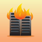 Server on fire — Stock Vector