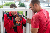 Installation of plastic windows — Stock Photo