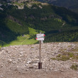 Stock Photo: View on tourist sign in TatrMountains. Przelecz pod KondrackKopa, Poland.