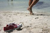 Shoes in the beach — Stock Photo