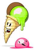 Cartone animato-gelato di fusione — Vettoriale Stock