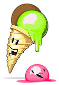 Melting cartoon Ice-cream — Stock Vector